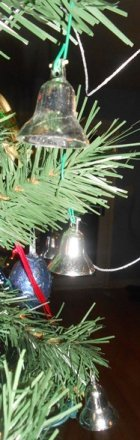 Silver Bells on Christmas Tree