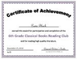 6th grade certificate