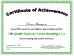 7th grade certificate