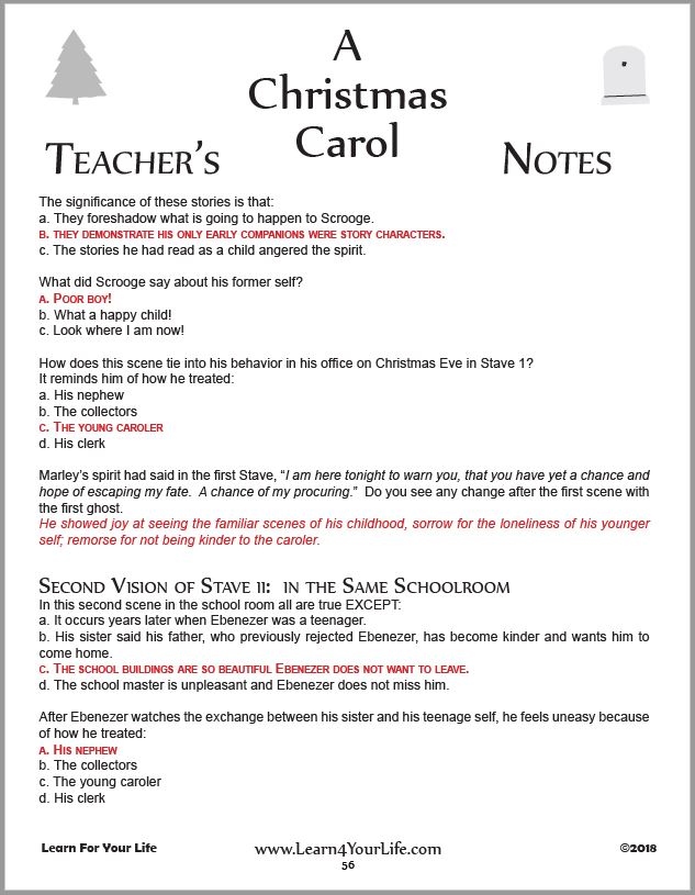 Christmas Carol Teachers Key