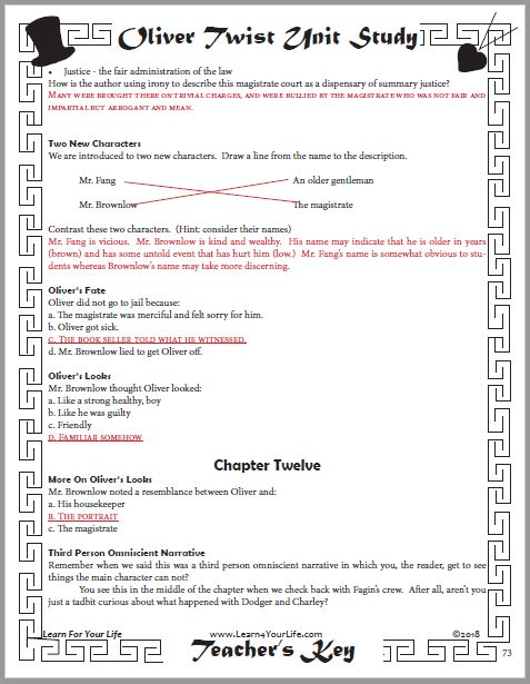 Oliver Twist Teachers Answer Key Page