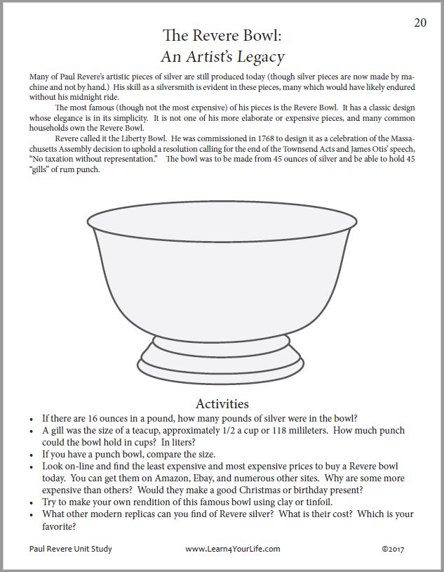 Paul Revere Liberty Bowl Activity Page
