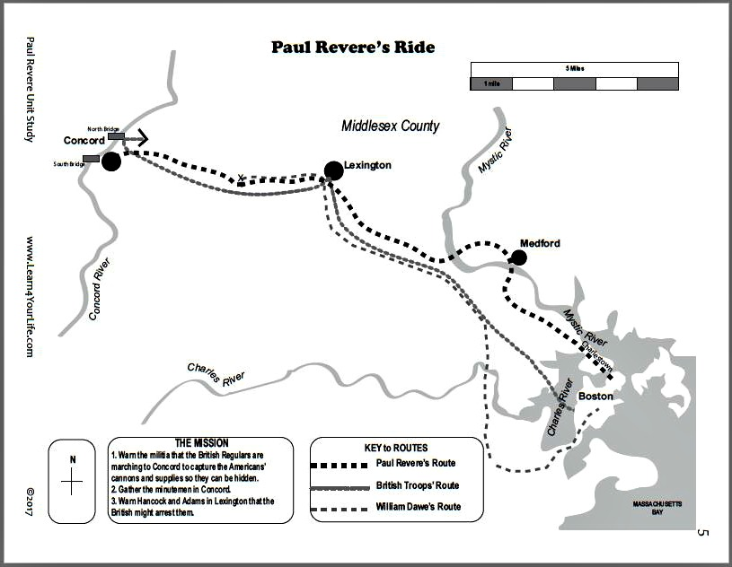 Map of Paul Revere's Ride - black and white