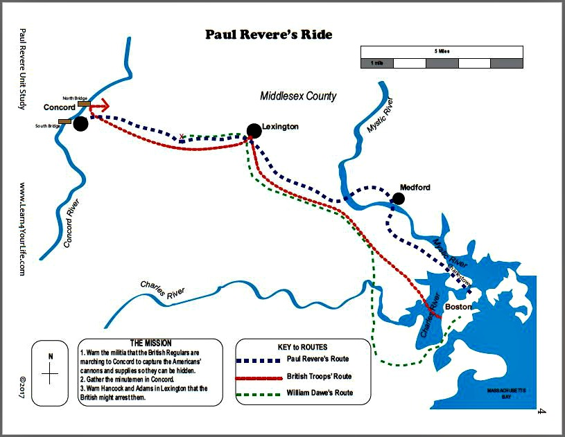 Paul Reveres Ride Map Color