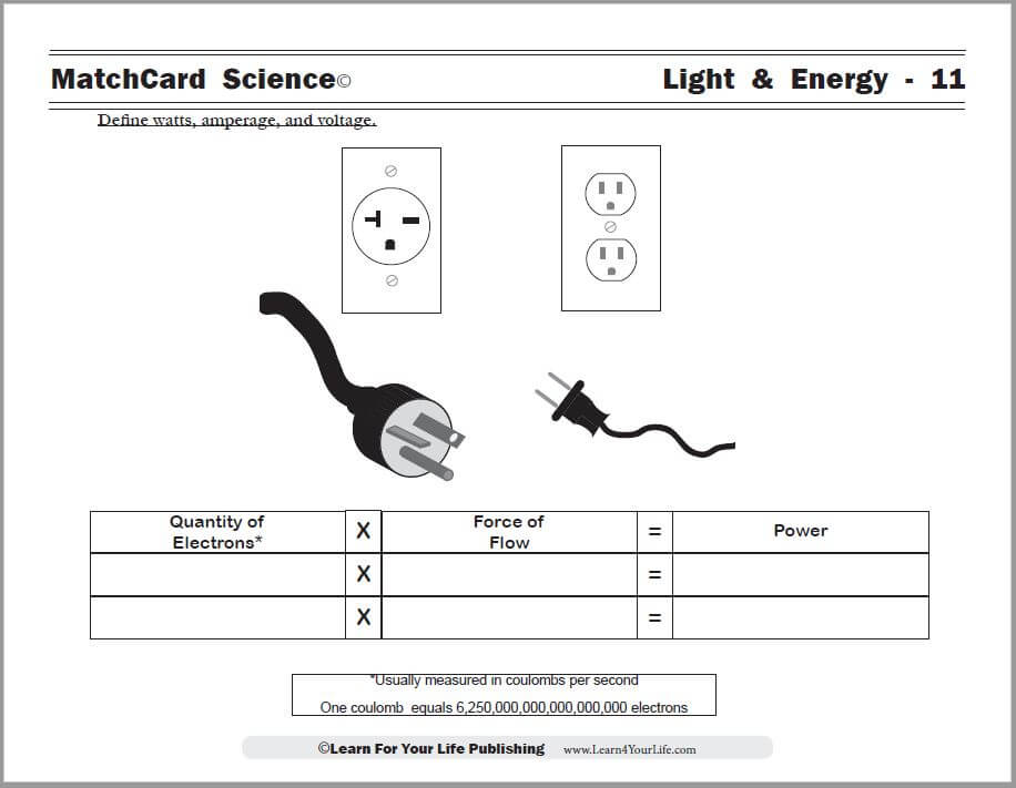 Amps, Volts, and Watts Worksheet