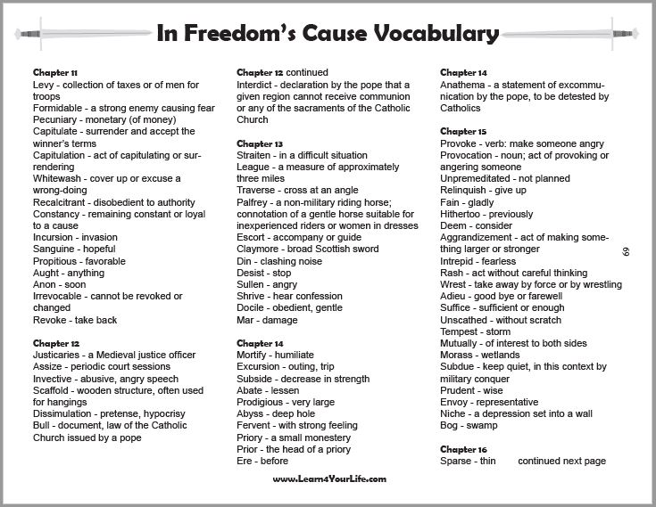 In Freedoms Cause Vocabulary Bookmarks