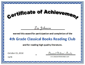 4th grade book club reading certificate