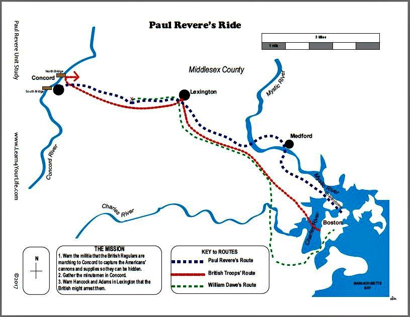 Paul Reveres Ride Map Color