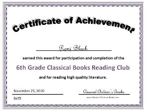 6th grade book club certificate