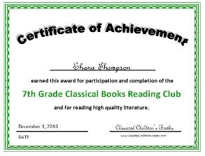 7th grade book club certificate