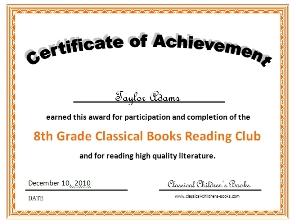 8th grade reading certificate