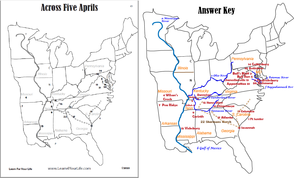 Across Five Aprils Map