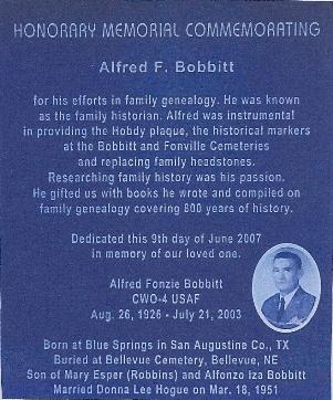 Alfred F. Bobbitt memorial plaque