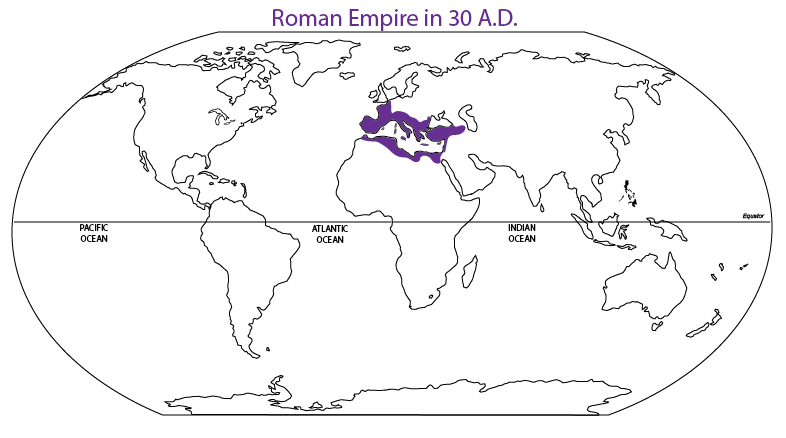 World Map of Roman Empire at time of Bronze Bow