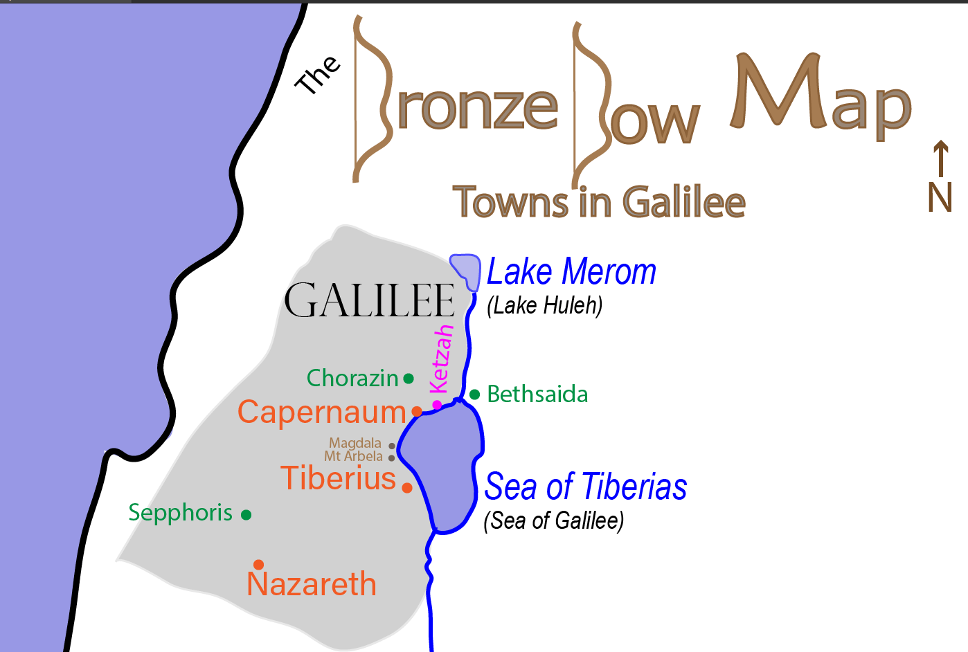 Bronze Bow Map of Major Towns