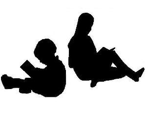 silhouette of children reading books