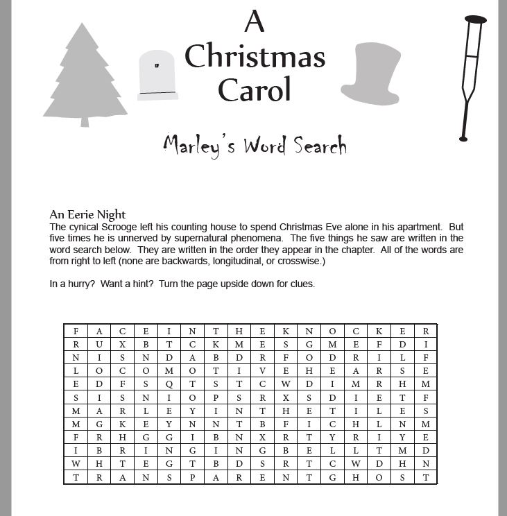 Christmas Carol Marley Word Search