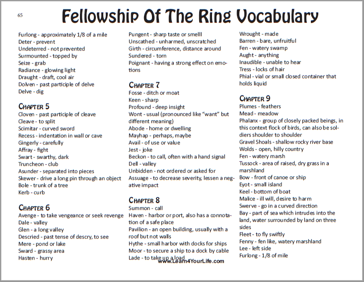 Fellowship of the Ring Vocabulary List