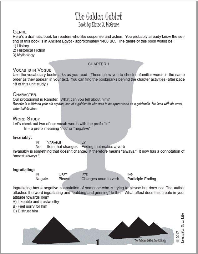 Golden Goblet Unit Study Page
