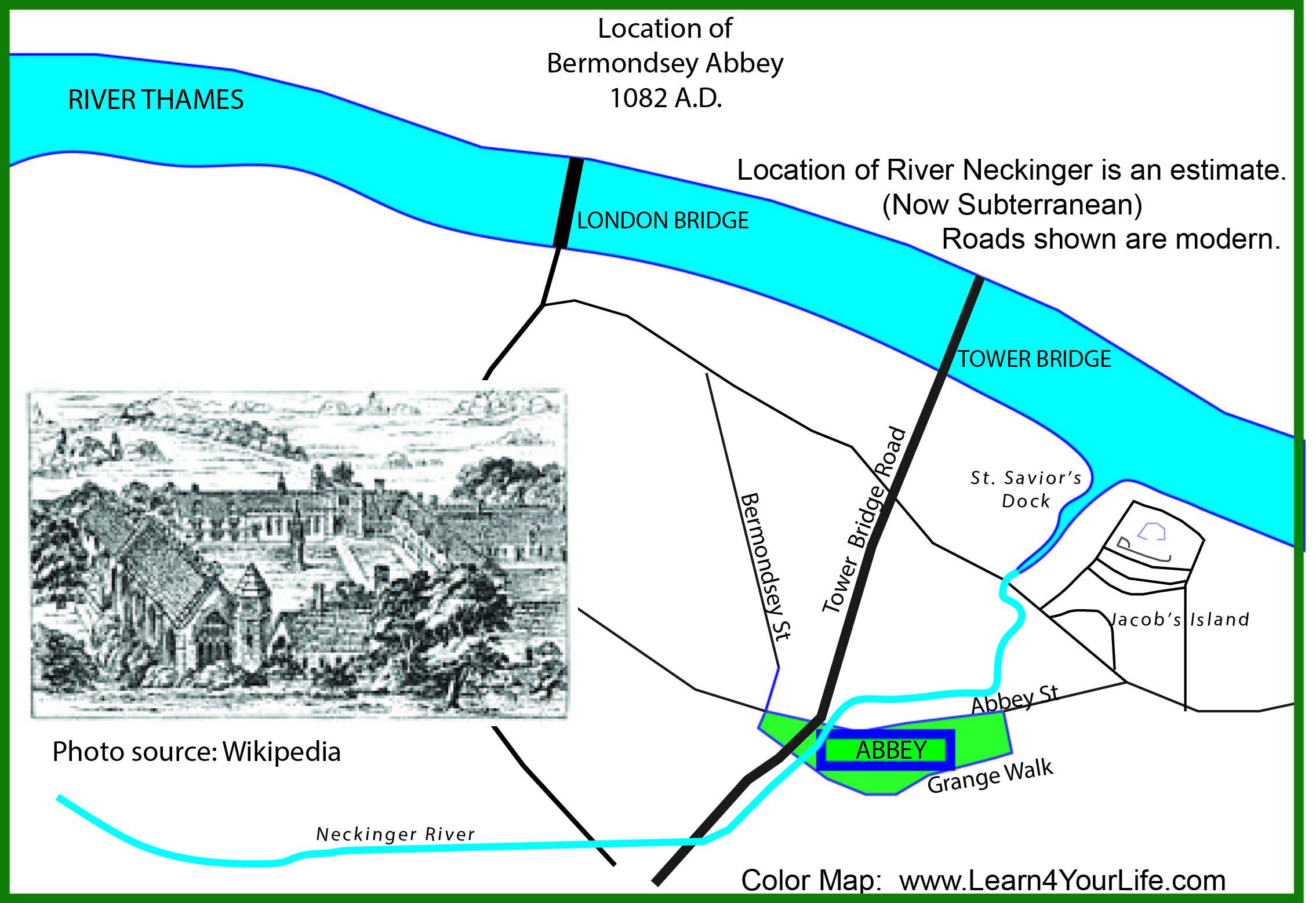 Bermondsey Abbey map