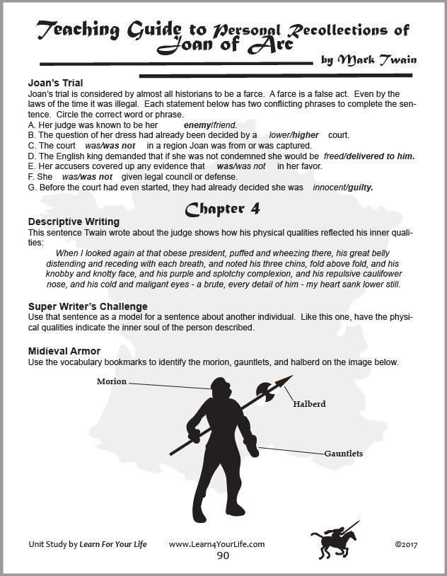 Joan or Arc Teachers Answer Key Page