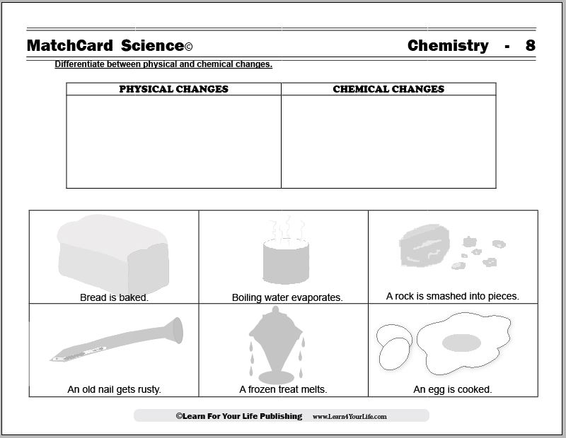 Physical and Chemical Changes – Changes in Matter Worksheets