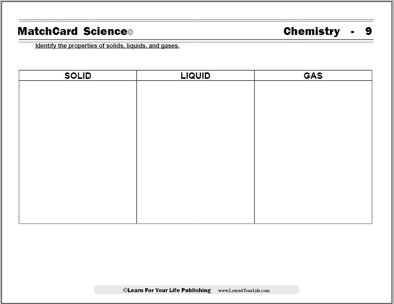 Solid Liquid Gas Worksheet