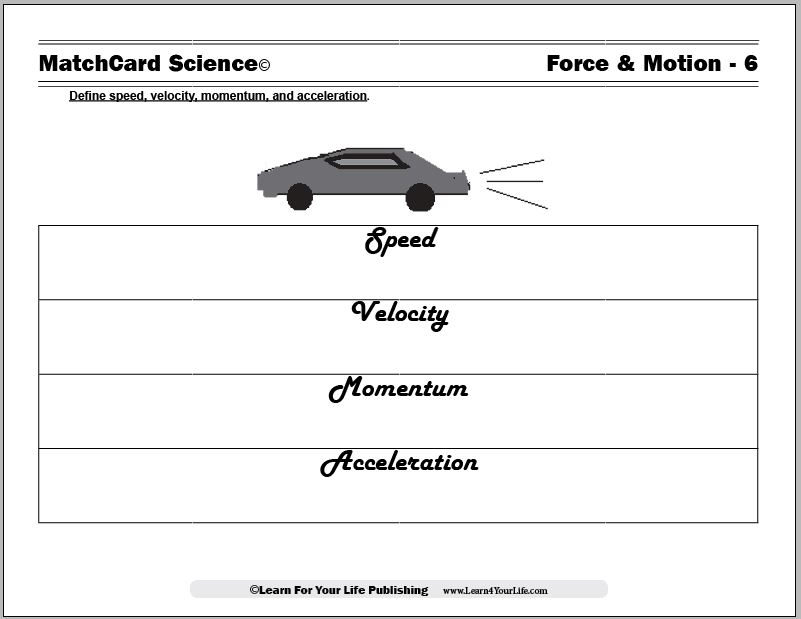 Force and Motion Worksheets – Motion Worksheet