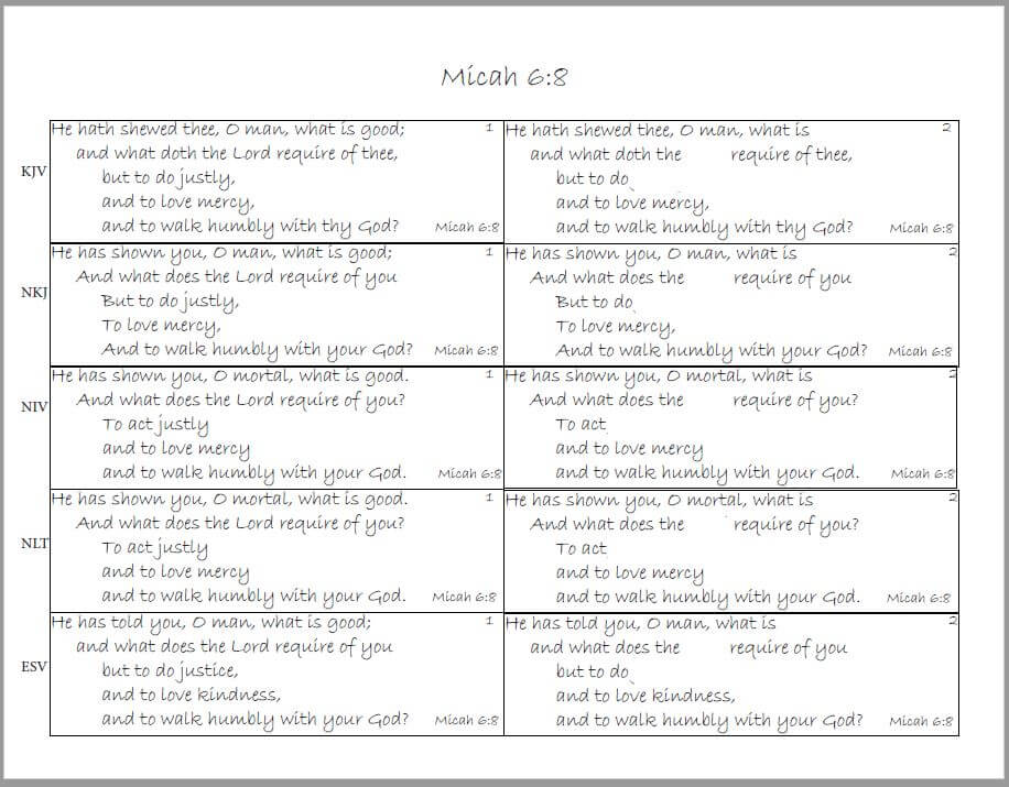 Micah 6:8 memory worksheet