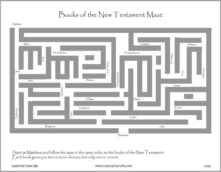New Testament Books Maze