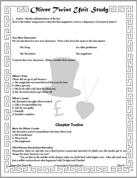 Oliver Twist Study Guide Page