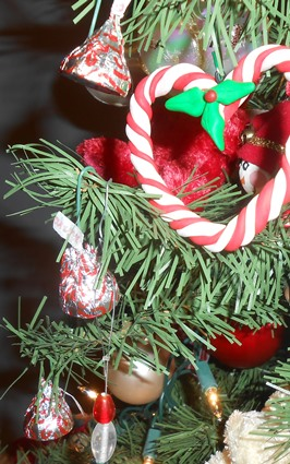 Candy Cane Kisses on Christmas Tree