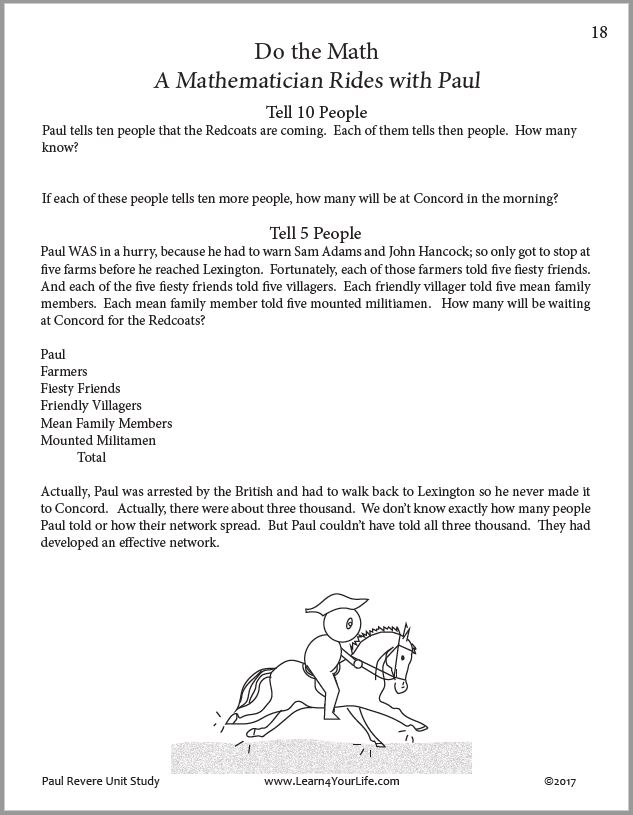 Paul Revere Math Printables