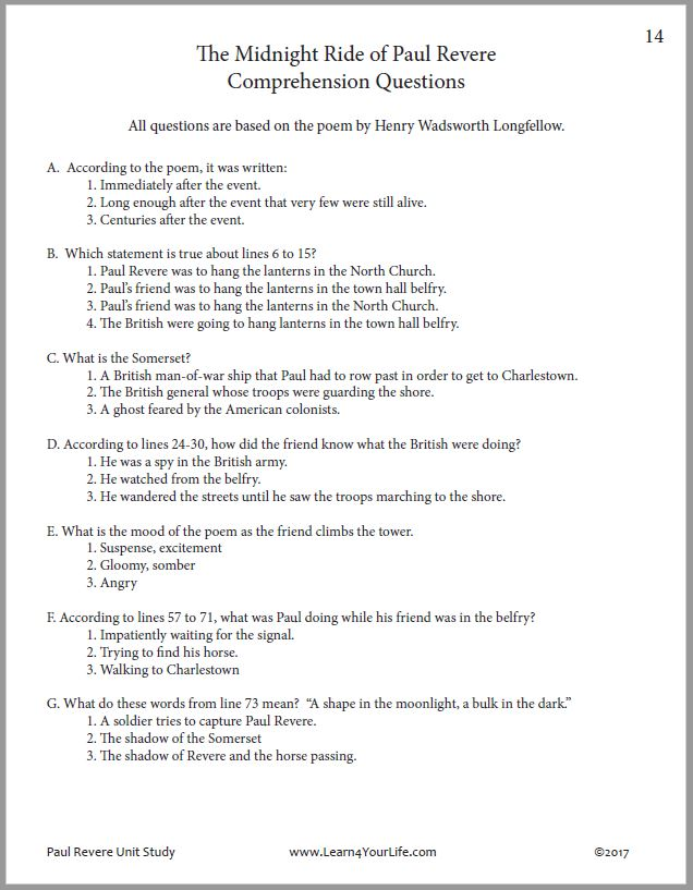 Paul Revere Poem Reading Comprehension Questions