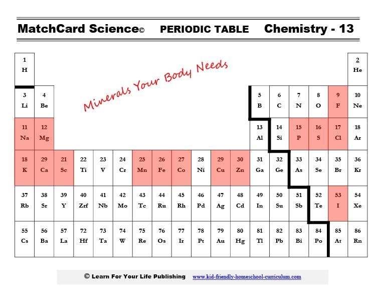 Periodic Table Minerals Body Needs