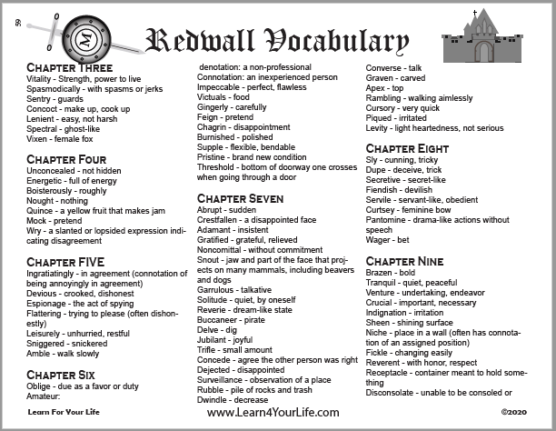 Redwall Vocabulary List
