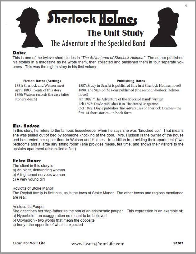 Sherlock Holmes Worksheet
