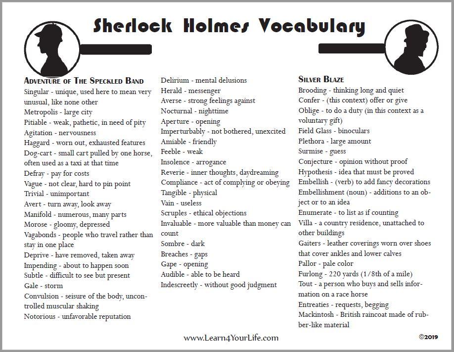 Sherlock Holmes Vocabulary List