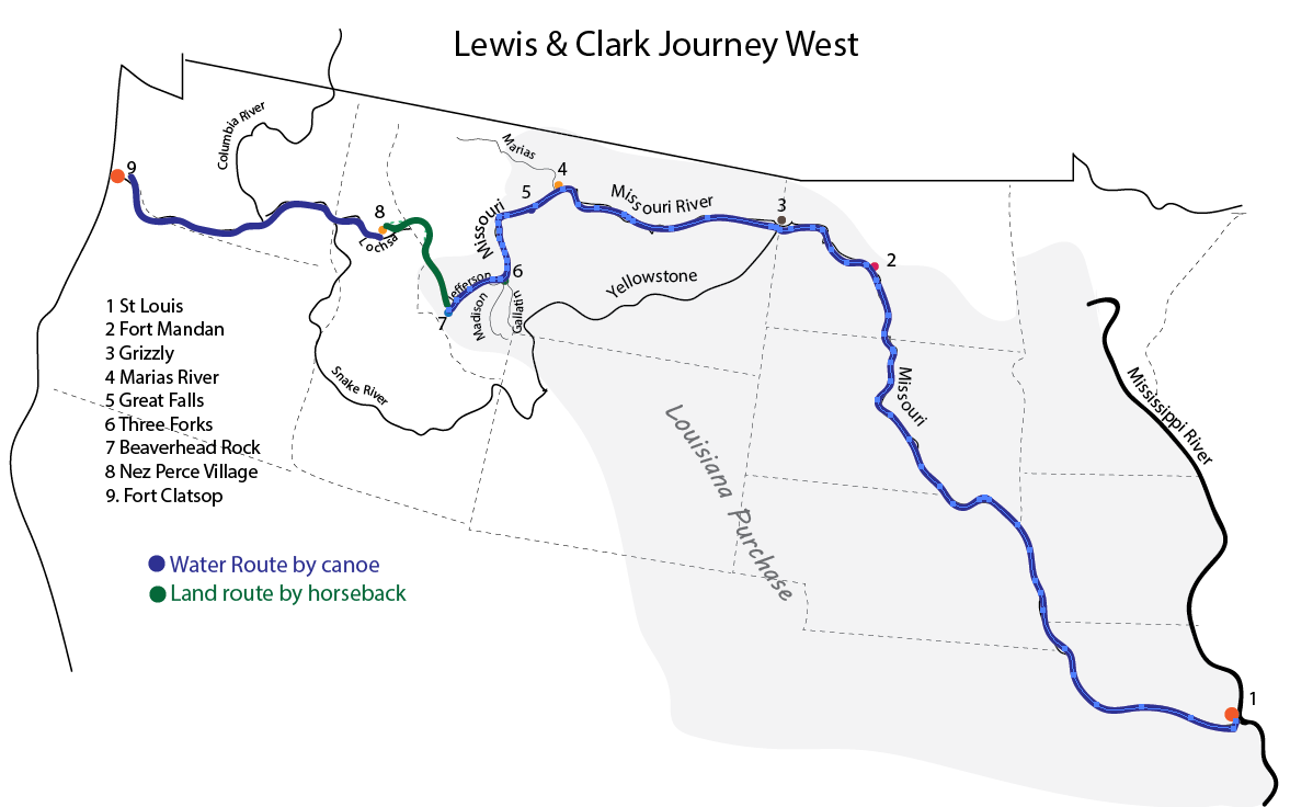 Map of Lewis and Clark Journey West