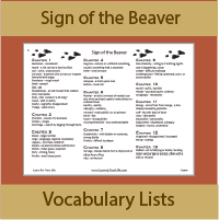 Sign of the Beaver Vocabulary Lists