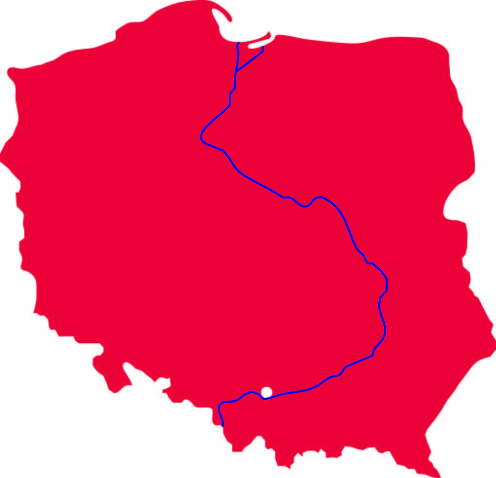 Map of Poland and Vistula River