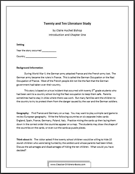 Twenty and Ten Chapter One Lesson Guide