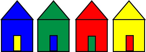 silhouettes of colored houses